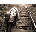 Poland woman train tracks kiss beauty