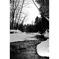 winter creek stream water black white snow ice