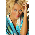 female blonde posing colorful robe