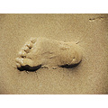footprint in the sand Bamburgh