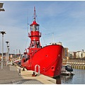 This is a floating lighthouse ship/vessel At Hythe Quey at Colchester Essex 