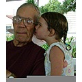 Maddie kissing Great Grampa Bill
