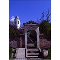 landscape path gate stairways temple church tree wall sky clouds