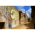 Valparaiso Chile Sunny Day Graffity Clouds Wall Blue Brown Letters Canon