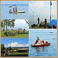 Sunday sunshine water people Lake Leman Switzerland collage