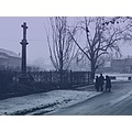 street road fence winter frozen ice fog peoples believer church bw
