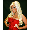 female model blonde brooke red corset