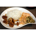 Salmon with a caper, ginger, garlic, lemon sauce, rice and 'pig's stomach' mushrooms (猪肚菇 z...