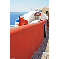 Santorini wall red white blue Archer