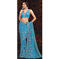 Turqouise Blue Georgette Saree with Blouse