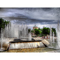 HDR fountains downtown park Pleven Bulgaria photomatix