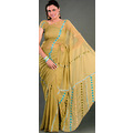 Light Olive Green Faux Georgette Saree with Blouse