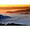 'Sunshine and Shadow': early morning fog in the valley below the Surprise View in the Derbyshire ...