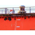 Closeup Floating drydock Landskrona 2012 March Orange White Flytdockan