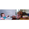 On the left my daughter, Helen's first birthday, in May 1983. On the right, Helen with her son Ra...
