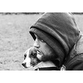 portrait bw black white man dog jaroslavas nation picture