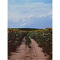 landscape summer field sunflowers tree road blue sky clouds