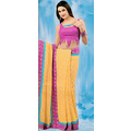 Yellow Viscose Saree with Blouse