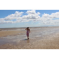 sea beach sand water girl dress sky clouds red beautiful woman