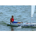 boy sailing lake water sail