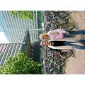 Karee and Kath outside Den Haag Station check out all the bikes