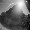 holga C41 film flare light backlight building angle perspective scan bw