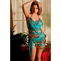 brunette model posing turquoise gold dress