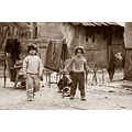 children refugee camp bw