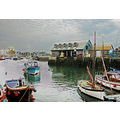 8411 Manipulated Cornwall Sea Coast UK Harbour Mevagissey Boat Moored