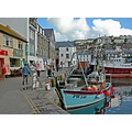 0025 Mevagissey Cornwall UK Harbour Quay Sea Coast Boat Moored Shop People