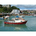 Folkestone sea seaside boat boats water green red summer harbour