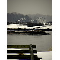 beach winter bench cold snow ct water grey nature