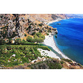 preveli beach river sea crete palm tree archer