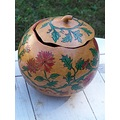 redflowers woodburn handpainted gourds stoneakin bowllid
