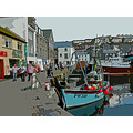 0026 Mevagissey Manipulated Harbour Sea Coast Cornwall Quay UK Boat Moored