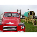 red bedford truck gypsy caravan ornate horse traveller