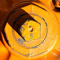 orange fire hydrant macro