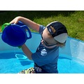 pool pla playing water wet boy son kid lad bucket fun sunny day nice love