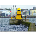 harbour harbor boys fishing yellow lighthouse reykjavik sea breakwater