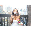 portrait Paige bubbles portraits NYC balcony summer manhattan ad