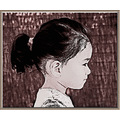 portrait child girl sepia hair profile