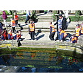reflectionthursday pond schoolchildren