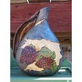 grapevine woodburn handpainted carved rustic grapes gourds stoneakin blue purple