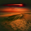 surreal landscape intense colour red planet beach sea dream series sun ufo keit
