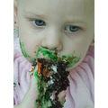 1st Birthday girl child kids children cake mess face closeup