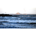 waves water sea cold lindisfarne rocks castle sun seagull bird england northeast