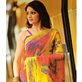 Faux Yellow Collection Kameez Bombay Crepe Saree with Blouse