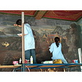 Restoring ancient wall paintings in the Wat Phrakaew Temple Bangkok Thailand