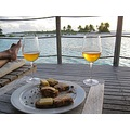 Bordeau white wine and canapés of Foie gras or NZ cheese