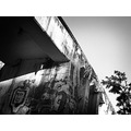 graffiti concrete bridge black and white